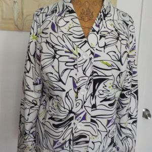 Laura Ashley Blk/White w/ Touch Lime Floral Blazer